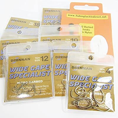 FTD - Min 30 (3 packs of 10) DRENNAN WIDE GAPE SPECIALIST (MICRO BARBED) EYED Single Size & Combination Fishing Hooks Sizes 4 to 18 - Comes with 10 FTD Barbed Hooks to Nylon from FTD & DRENNAN