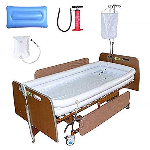QYHT Behinderte Badewanne, Medizinische Erwachsene Aufblasbare Badehilfen PVCs, mit Pumpe + Duschwasserbeutel + Aufblasbarem Kissen, Für Bettlägerigen Patienten Bad Leicht im Bett -