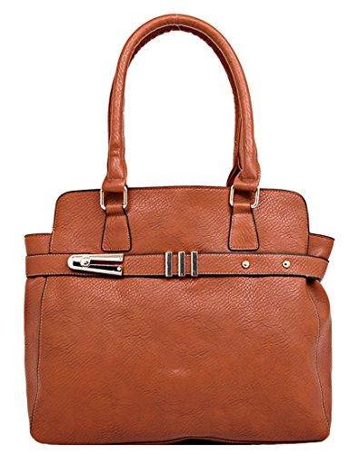 Kukubird Ecopelle Cinturino Orizzontale Tote Shoulder Bag Handbag Reddish Brown