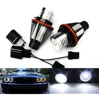 2x White LED Angel Eye Halo Ring Headlight Daytime Light Bulb For E39 E60 E61 E87 E53 E63 E65