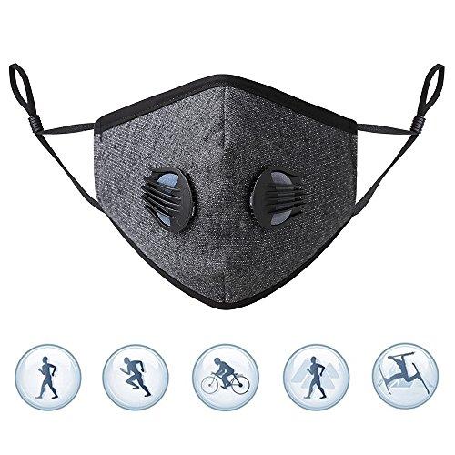 Anti Verschmutzung Sport Maske mit Filter Staubdicht Anti Smog Outdoor Ausreit Radfahren Schulung Motorrad Face Maske Unisex(maske + 2 Filter + 2 ventile)