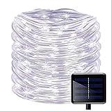 100 luces LED solares de cuerda, resistentes al agua 12m, cable de cobre exterior, luces para Navidad, jardín, patio, valla del camino, árbol, de Kingcoo