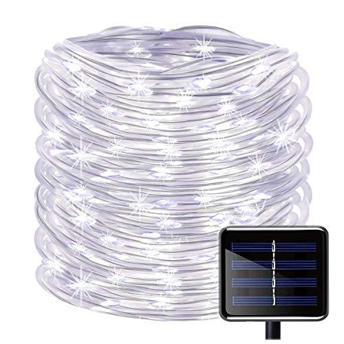 100 LEDs Solar Seil Lichterkette,KINGCOO Wasserdicht 39 ft/12 m kupfer Draht Outdoor Tube Lichterkette für Weihnachten Garten Yard Weg Zaun Baum Backyard (Weiß) (Lichter Outdoor-solar-seil)