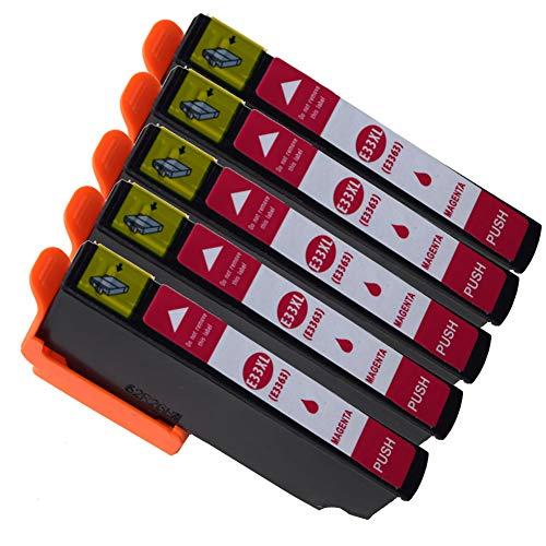 Ouguan Compatibile per Cartucce Epson 33XL 33 per Epson XP-640 XP-530 XP-830 XP-645 XP-540 XP-900 XP-630 XP-635 XP-7100-5 Magenta
