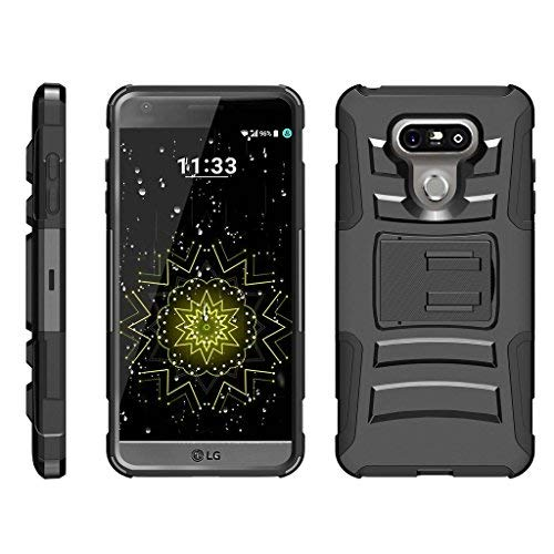 ibel für LG G6Fall | LG G6+ Case | LG G6Plus Case [Hyper Schock] Hybrid Dual Layer Rüstung Holster Gürtel Clip Case Ständer -, Schwarz ()