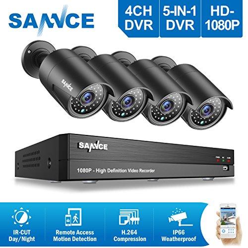SANNCE-Kit-Sistema-de-seguridad-1080P-con-4CH-DVR-y-4-cmaras-metal-de-vigilanciaOnvif-H264-CCTV-DVR-P2P-TVI1080P-y-4-Cmaras-Bala-2MP-IP66-Impermeable-no-disco-duro