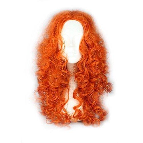 COSPLAZA Orange lange federnd lockige wellig prestyled Frauen Kinder Cosplay Verkleiden Perücken