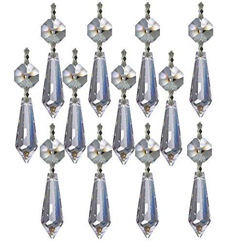 Collana di cristallo 12x 6cm cromo ~ oktagon & wiener pendel 30% pbo ~ behang lampadario lampadario