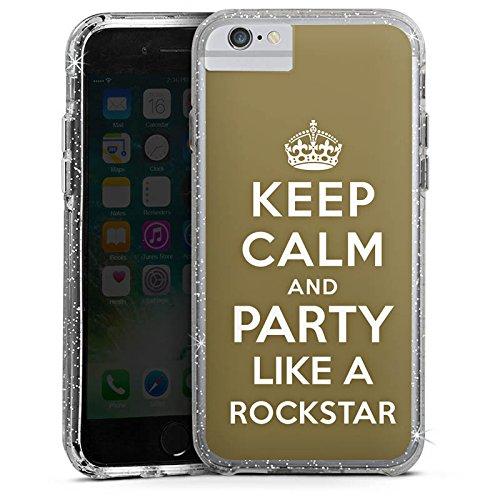 Apple iPhone 6 Plus Bumper Hülle Bumper Case Glitzer Hülle Keep Calm Rockstar Music Bumper Case Glitzer silber