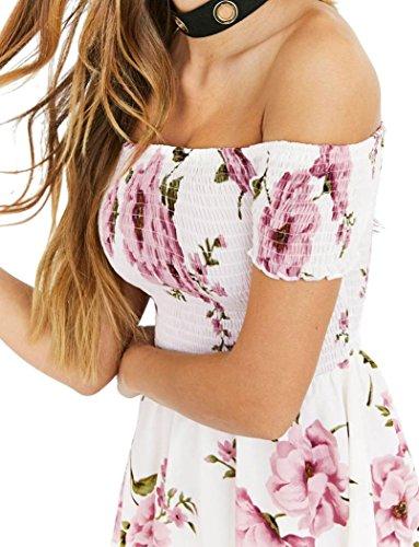 Hansee – Elegante abito corto da donna, stile casual, con scollo a barchetta e senza spalline, con motivo floreale, adatto per la spiaggia, donna, Pink, S