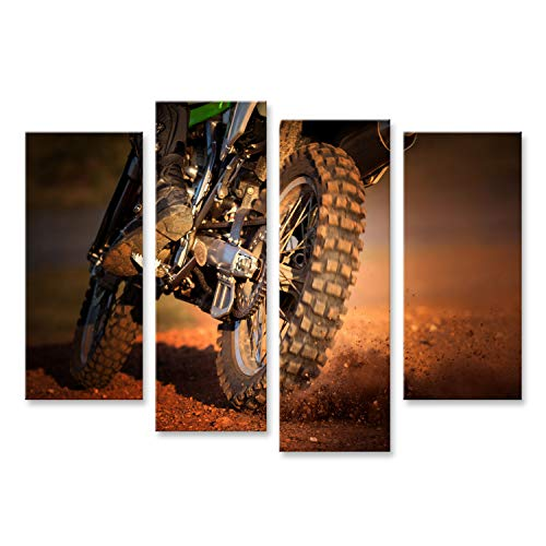 Bild Bilder auf Leinwand Wirkung des Enduro-Motorrads auf dem Feldweg Wandbild Poster Leinwandbild TEW