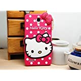 Redmi Note 1 3D Cute Cartoon Hello Kitty Soft Silicone Gel Back Cover Case For Redmi Note 1 (Hello Kitty Pink) BY MJ CREATION