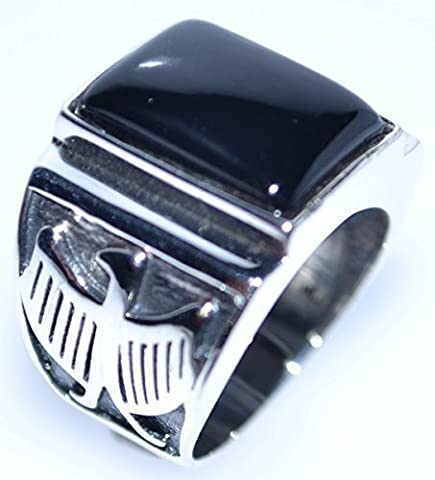 Mens Solid Sterling 925 Silver Black Onyx Gents Ring, Eagle Logo Size S Antique Look Rings! Sizes N to Z+5 available