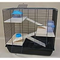 Nagerkäfig, Hamsterkäfig, Käfig, Etagen-Käfig REX 3 blau Holzausstattung