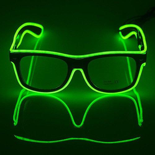 Leuchtende Brille OMOUP EL Wire Leuchtbrille Leuchten LED Leucht Sonnenbrille Partybrille mit Batterie Box für Party Weihnachtsfeiern Halloween (Grün)