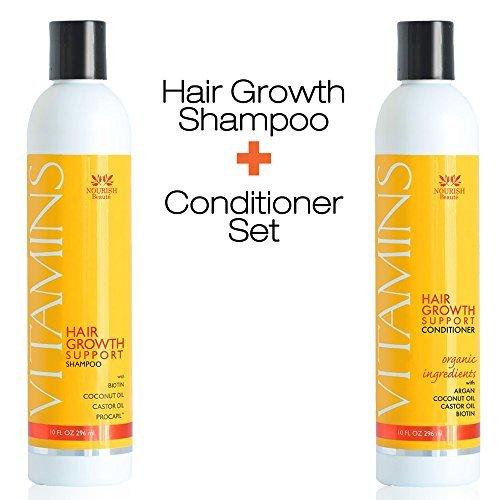 Nourish Beaute–Shampooing antichute des cheveux aux vitamines naturelles Traitement bloqueur de DHT pour la repousse Meilleur Produit pour Alopécie, Clairsemés et Croissance 296ml
