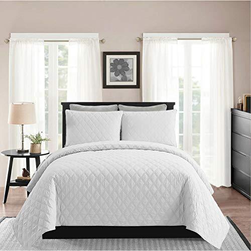 AMEHA Luxus-Tagesdecke, geprägter Bettbezug, massives wendbares 3-teiliges Bettwäsche-Set, Prime White, Super King (Bettwäsche Bettbezug King White)