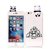 MoEvn Coque iPhone 6S Silicone, iPhone 6 Bleu Blanc Etui Mode 3D Ultra Mince TPU Case Cover Flexible Souple Housse Etui de Protection Antichoc Bumper pour iPhone 6 / 6S - Panda 1