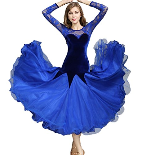(Ballroom Tanz Kleidung für Frauen Praxis Leistung Wettbewerb Kleider Walzer Tango Anzug Samt Spitze Stitching Rock, L)