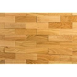 Wodewa Roble - Madera auténtica para paneles de pared madera, revestimiento de paredes interiores (apariencia 3D, 200 x 50 cm)