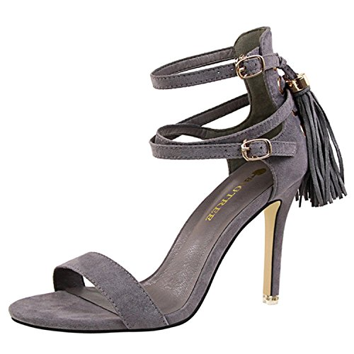 Oasap Women's Open Toe Ankle Strap Tassel Stiletto Sandals Grey