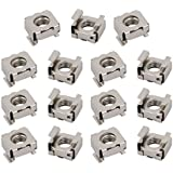 uxcell 15pcs M6 65Mn Steel Nickle Plated Cage Nut Silver Tone for Server Shelf Cabinet