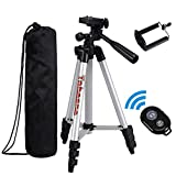 Tobeape Tripod for Camera and Smartphone, 101 cm Aluminum Universal Camera Tripod with Cell Phone Holder Mount + Bluetooth Wireless Remote Control Camera Shutter for iPhone, Samsung and More