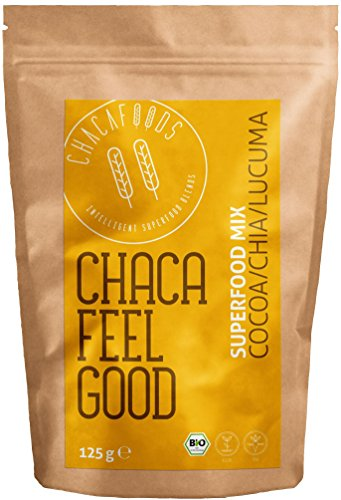 Veganes Bio Superfood Pulver FEEL GOOD für Smoothies   ungesüßt   Roher Kakao, Carob, Lucuma, Chia Samen (Omega 3 Fettsäuren), Banane   Nahrungsergänzungsmittel   Antioxidantien, Mineralstoffe  125g
