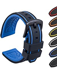 Ullchro Silicone Watch Strap Replacement Rubber Watch Band Waterproof Bicolor Men Women - 20, 22, 24, 26mm Watch Bracelet with Brushed Stainless Steel Buckle Black (20mm, black & blue)