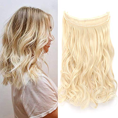 Extension capelli con filo invisibile ricci lunghi 40cm pesa 105g fascia uncia wire in hair extensions senza clip - biondo chiaro