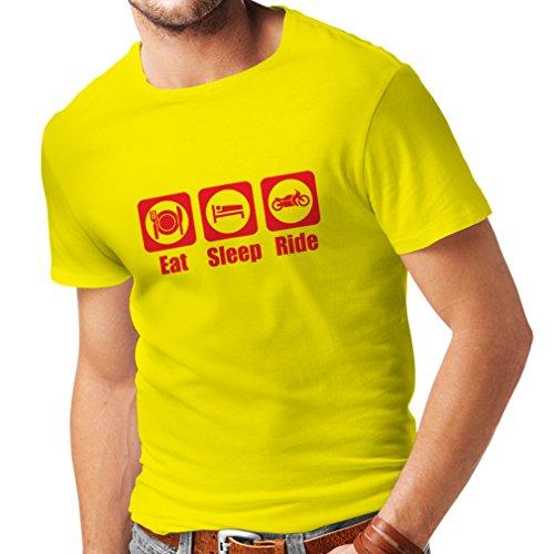 Männer T-Shirt ISS - Schlafen - Fahren Geschenk für Motorradfahrer Motorradbekleidung (Large Gelb Rote)