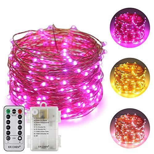 ErChen Batteriebetriebene Zweifarbige Led Lichterketten, 66 FT 200 Leds Farbe ändern Dimmbar 8 Modi Kupfer Draht-Lichterketten mit Fernbedienung Timer für Innen Außen Christmas (Warmweiß, Lila)