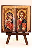 IconsGr Greek Orthodox Christian Icon of Jesus Christ and the Virgin, Made of Wood, Handmade / MP11