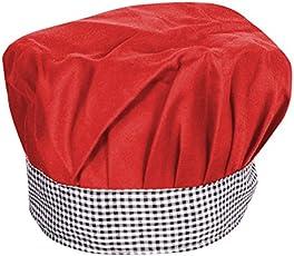 Aurum Creations Red Chef Cap Grey Black Check Contrast