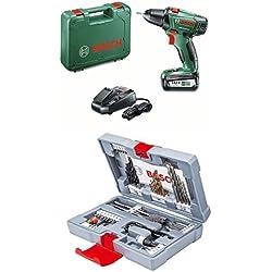 """Pack Duo Perceuse-visseuse """"Expert"""" Bosch (1 batterie) et coffret accessoires Premium (49 pcs)"""