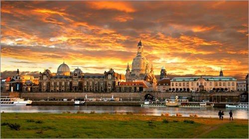 Leinwandbild 130 x 70 cm: Dresden Altstadt Elbe von bildpics - fertiges Wandbild, Bild auf Keilrahmen, Fertigbild auf echter Leinwand, Leinwanddruck
