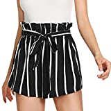 Cloom Frauen Retro Streifen Shorts Hosen mit String Shorts Damen Sommer High Waist Shorts Sporthosen Kurze Shorts Hot Pants Stretch Short Fitness Laufen Yoga Sportshorts Strandshorts (S, Schwarz)