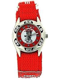 Montre Reflex Garçon à Quartz Cadran Motif Karaté/Judo Bracelet Velcro Rouge