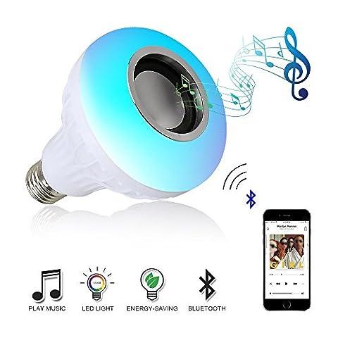 Skylove Musique lumière Bulb- ampoule LED avec haut-parleur Bluetooth & # Xff0C; RGB E27Ampoule Audio Haut-parleur intégré avec télécommande pour Home, scène, décoration de fête