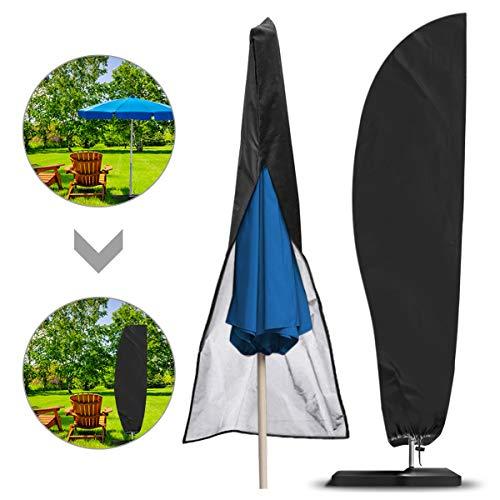 NASUM Schutzhülle für Ampelschirme Sonnenschirmhülle Abdeckhauben für Sonnenschirm für Schirm 2 bis 4 m Abdeckung mit Reißverschluss und Zugkordel Schirmhülle schwarz (265 x 40/70/ 50 cm)