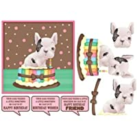 BullDog francés sentado en pastel divertido cumpleaños topper por Tanya Hall