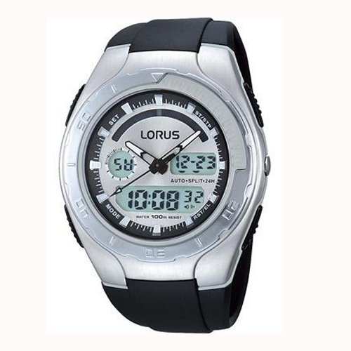 Lorus Men's Alarm Chrono EL Dual Time Watch 100 Mtr WR Black Pu Strap R2389GX9