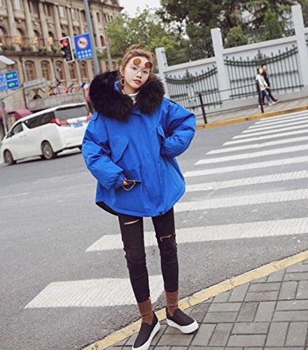 ider Lose In Der Langen Abschnitt Des Großen Kragen Baumwolle Kragen Tunnelzug Uniformen Baumwolle Jacke, L, Blau Kleidung Schwarze Haare (Blauen Kragen Der Uniform)