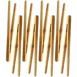 Lot de 8 pinces en bambou pour toast, salade, barbecue, pâtisserie, etc. Non toxique réutilisable.