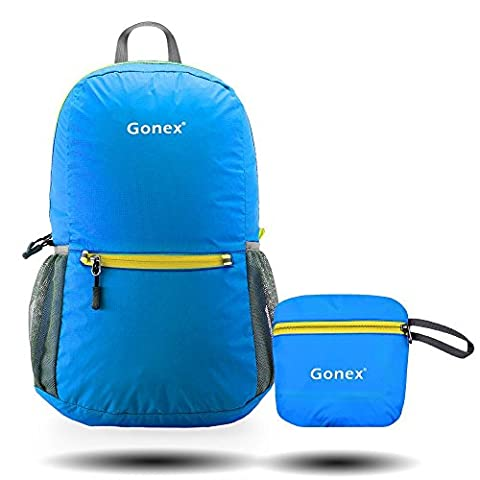 Gonex Ultra Lightweight Packable Backpack for Men and Women/ Handy Foldable Camping Outdoor Travel Cycling School Air Travelling Carry on Backpacking + Ultralight and Handy - 6.5 OZ Only + 8 Color