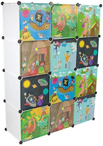 KEKSKRONE - Kinder Kleiderschrank mit Bunten Abenteuer Motiven - Weiß 12 Module - DIY Steckregal Inklusive 2 Kleiderstangen