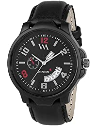 Watch Me Day And Date Collection Black Dial Black Leather Strap Watch For Men And Boys DDWM-030 DDWM-030rto3