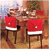 SMARTLADY 4 Pcs Navidad Fundas para Sillas, Sombrero Rojo de Santa Cena Sillas de Comedor Decoraciones