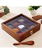 Webelkart Handcrafted Wooden Spices Container with Spoon (8