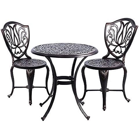 DOMI - set de 3 piezas de muebles de patio al aire libre bistro dealuminio alexius fundido de cobre